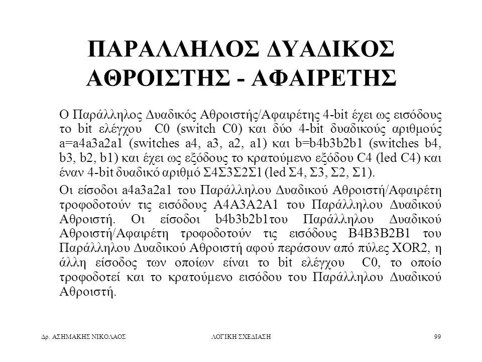 ΠΑΡΑΛΛΗΛΟΣ ΔΥΑΔΙΚΟΣ ΑΘΡΟΙΣΤΗΣ - ΑΦΑΙΡΕΤΗΣ
