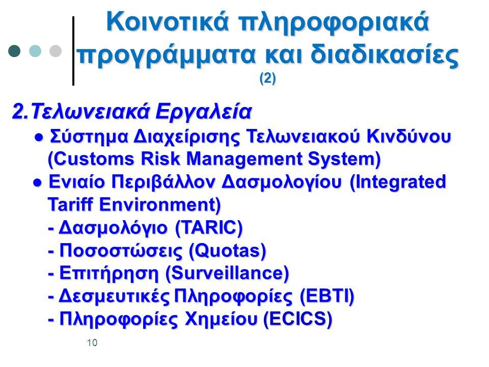 Κοινοτικά πληροφοριακά προγράμματα και διαδικασίες (2)