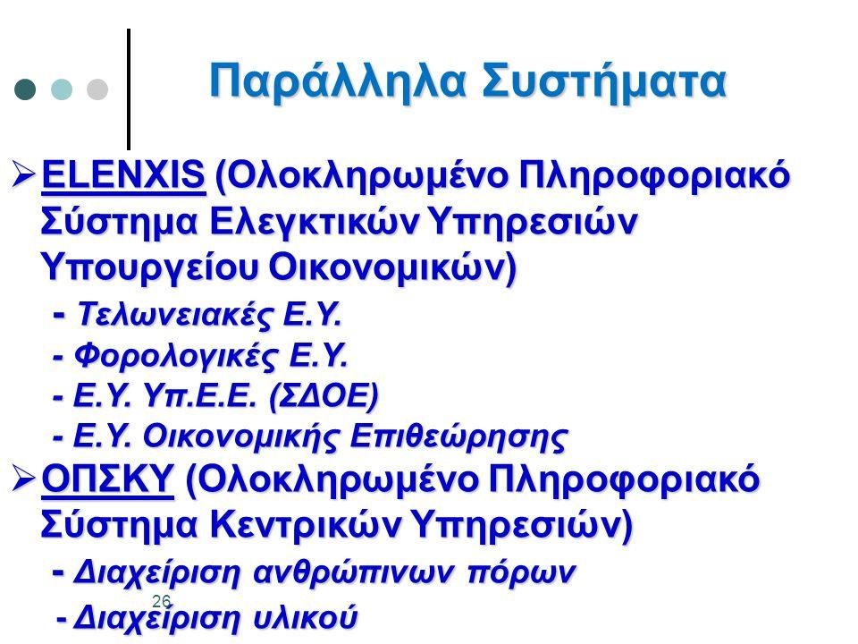 Παράλληλα Συστήματα ELENXIS (Ολοκληρωμένο Πληροφοριακό