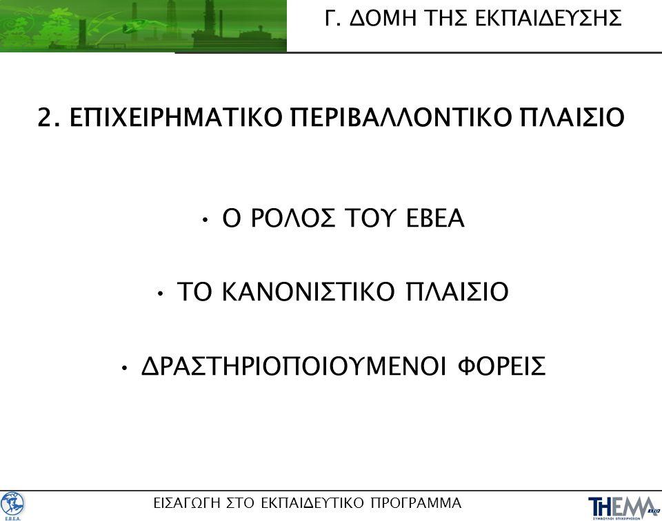 2. ΕΠΙΧΕΙΡΗΜΑΤΙΚΟ ΠΕΡΙΒΑΛΛΟΝΤΙΚΟ ΠΛΑΙΣΙΟ