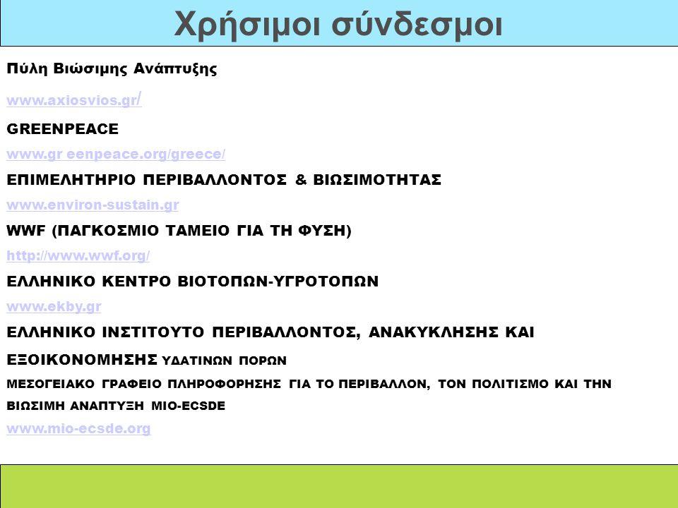 Χρήσιμοι σύνδεσμοι Πύλη Βιώσιμης Ανάπτυξης www.axiosvios.gr/