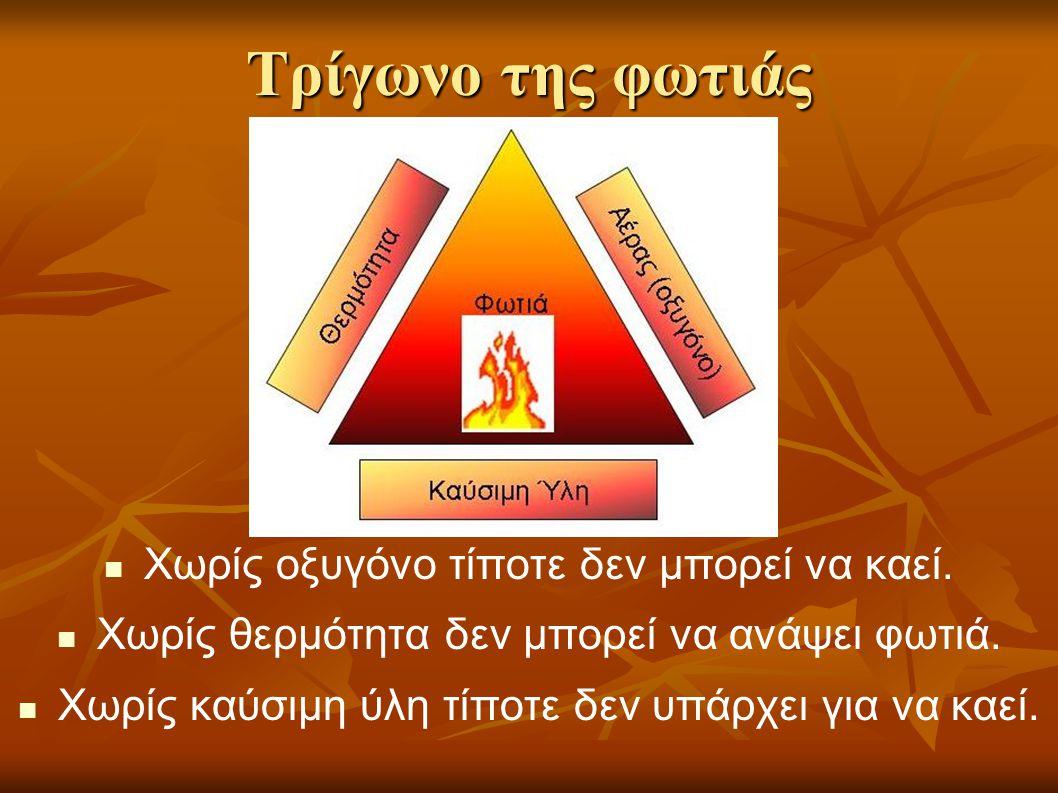Τρίγωνο της φωτιάς Χωρίς οξυγόνο τίποτε δεν μπορεί να καεί.