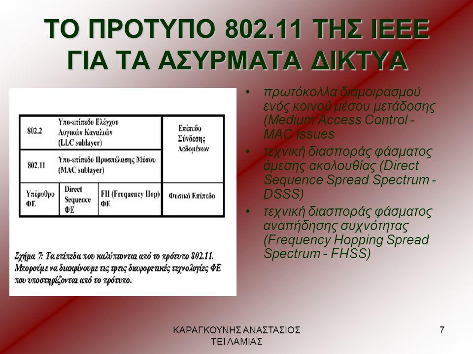 ΤΟ ΠΡΟΤΥΠΟ 802.11 ΤΗΣ ΙΕΕΕ ΓΙΑ ΤΑ ΑΣΥΡΜΑΤΑ ΔΙΚΤΥΑ