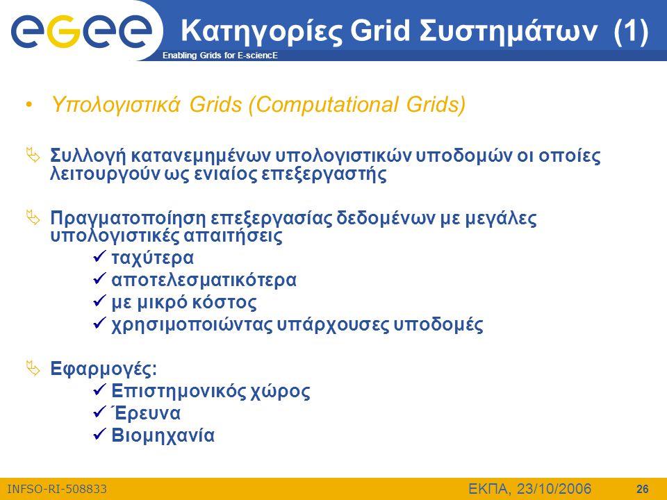 Κατηγορίες Grid Συστημάτων (1)