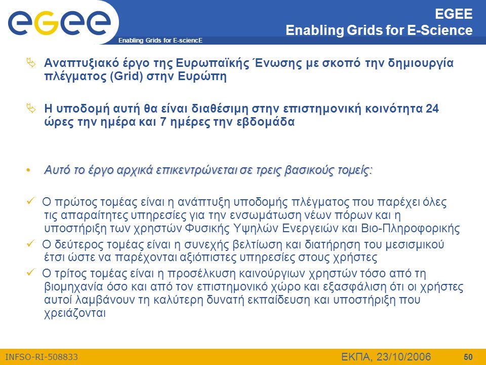 EGEE Enabling Grids for E-Science