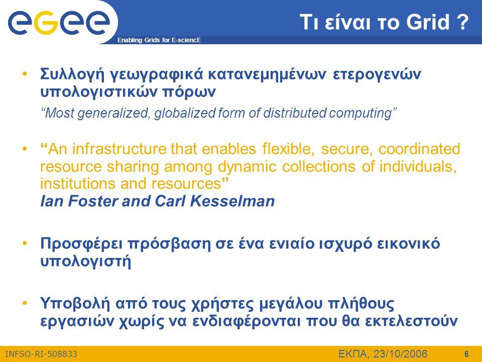 Τι είναι το Grid Συλλογή γεωγραφικά κατανεμημένων ετερογενών υπολογιστικών πόρων. Most generalized, globalized form of distributed computing