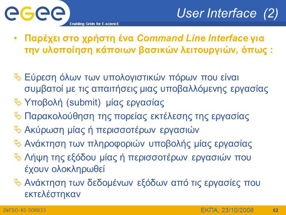 User Interface (2) Παρέχει στο χρήστη ένα Command Line Interface για την υλοποίηση κάποιων βασικών λειτουργιών, όπως :