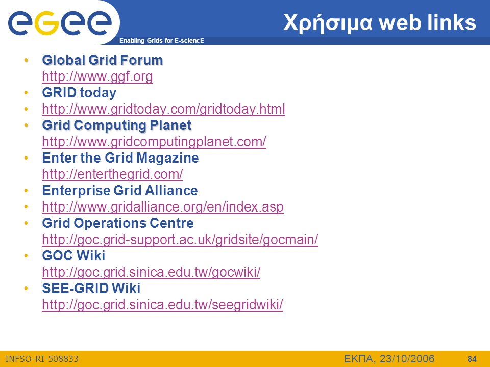 Χρήσιμα web links Global Grid Forum http://www.ggf.org GRID today