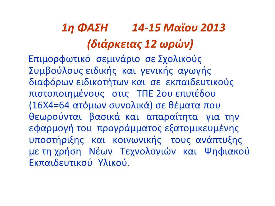 (διάρκειας 12 ωρών) 1η ΦΑΣΗ 14-15 Μαϊου 2013