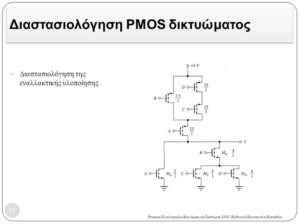 Διαστασιολόγηση PMOS δικτυώματος