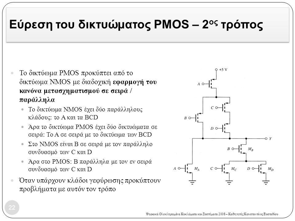 Εύρεση του δικτυώματος PMOS – 2ος τρόπος