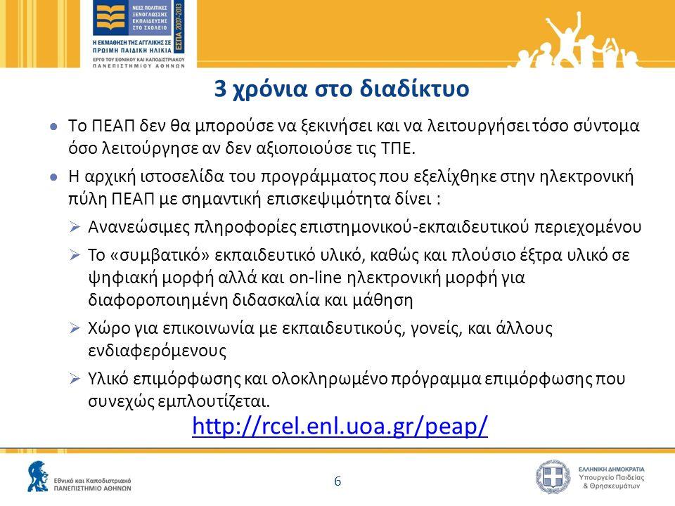 3 χρόνια στο διαδίκτυο http://rcel.enl.uoa.gr/peap/