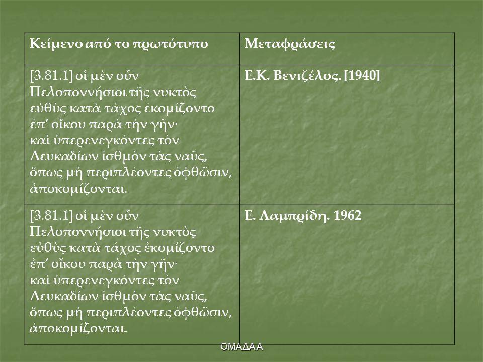Κείμενο από το πρωτότυπο Μεταφράσεις