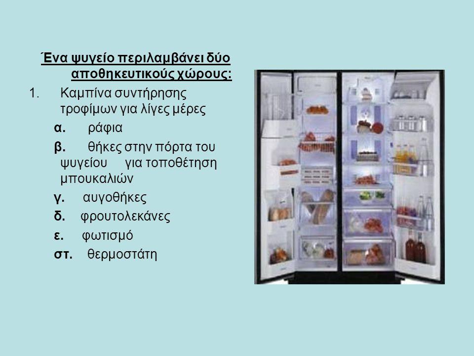 Ένα ψυγείο περιλαμβάνει δύο αποθηκευτικούς χώρους: