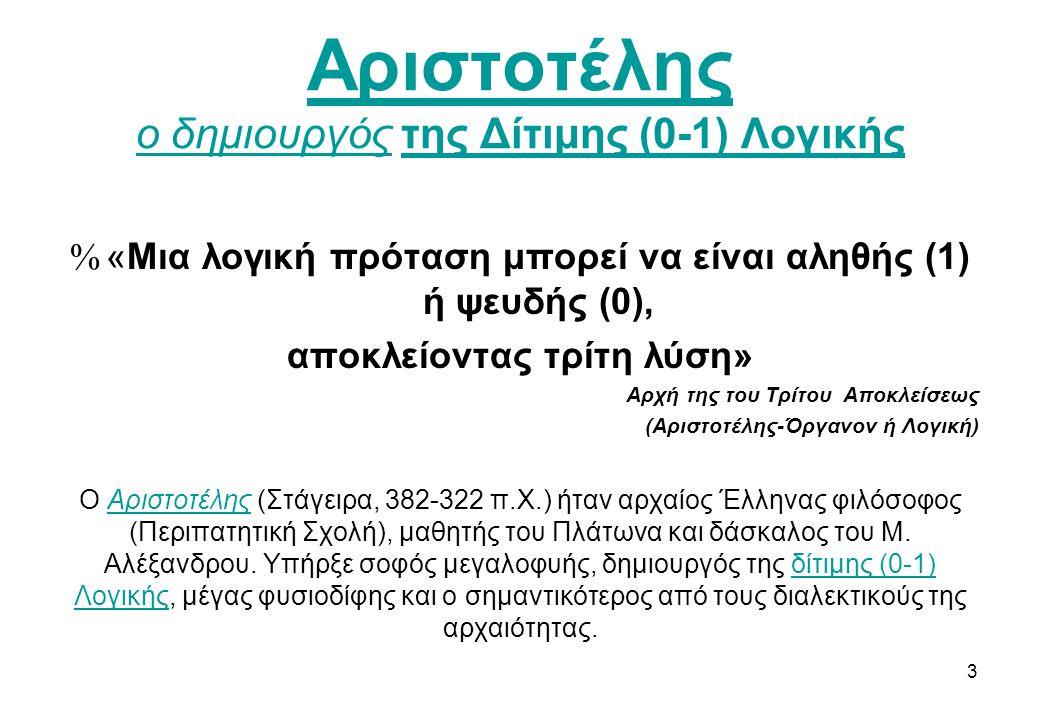Αριστοτέλης ο δημιουργός της Δίτιμης (0-1) Λογικής