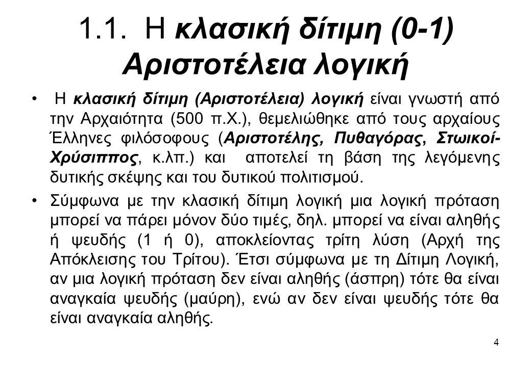 1.1. Η κλασική δίτιμη (0-1) Αριστοτέλεια λογική
