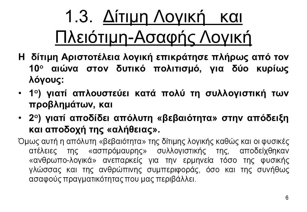 1.3. Δίτιμη Λογική και Πλειότιμη-Ασαφής Λογική