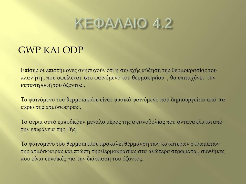 ΚΕΦΑΛΑΙΟ 4.2 GWP ΚΑΙ ODP.
