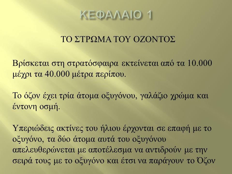 ΚΕΦΑΛΑΙΟ 1 ΤΟ ΣΤΡΩΜΑ ΤΟΥ ΟΖΟΝΤΟΣ
