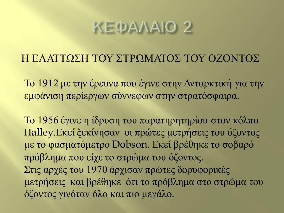 ΚΕΦΑΛΑΙΟ 2 Η ΕΛΑΤΤΩΣΗ ΤΟΥ ΣΤΡΩΜΑΤΟΣ ΤΟΥ ΟΖΟΝΤΟΣ