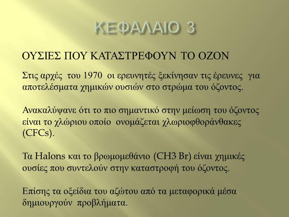ΚΕΦΑΛΑΙΟ 3 ΟΥΣΙΕΣ ΠΟΥ ΚΑΤΑΣΤΡΕΦΟΥΝ ΤΟ ΟΖΟΝ