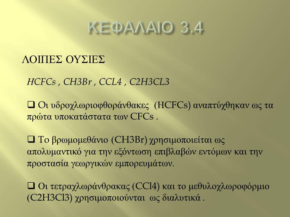 ΚΕΦΑΛΑΙΟ 3.4 ΛΟΙΠΕΣ ΟΥΣΙΕΣ ΗCFCs , CH3Br , CCL4 , C2H3CL3