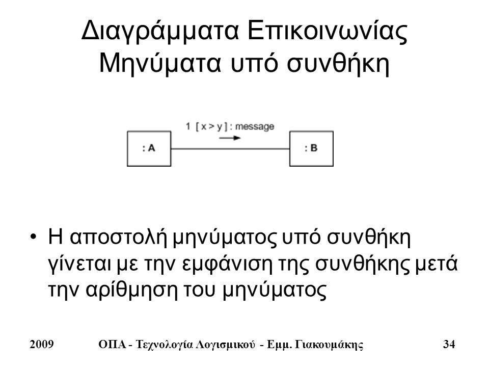 Διαγράμματα Επικοινωνίας Μηνύματα υπό συνθήκη