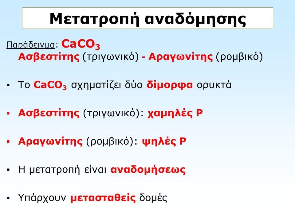 Μετατροπή αναδόμησης Το CaCO3 σχηματίζει δύο δίμορφα ορυκτά