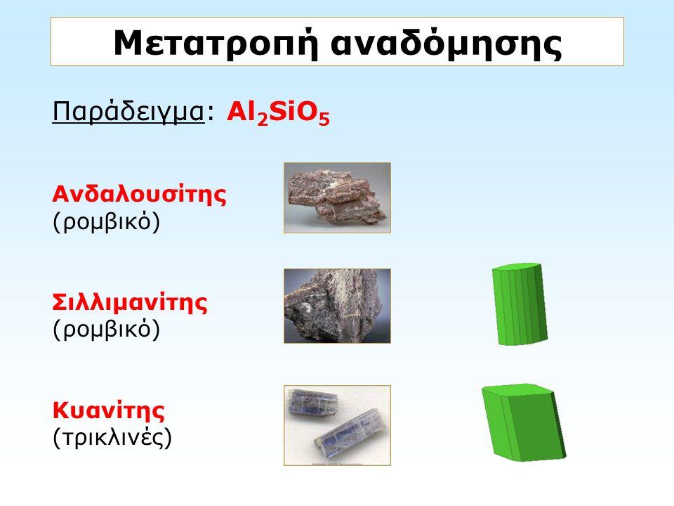 Μετατροπή αναδόμησης Παράδειγμα: Al2SiO5 Ανδαλουσίτης (ρομβικό)