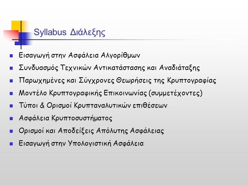 Syllabus Διάλεξης Εισαγωγή στην Ασφάλεια Αλγορίθμων