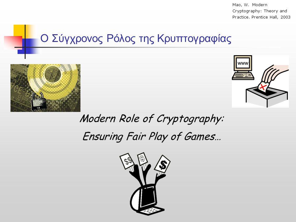 O Σύγχρονος Ρόλος της Κρυπτογραφίας
