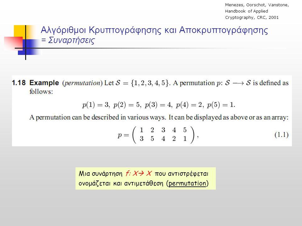Αλγόριθμοι Κρυπτογράφησης και Αποκρυπτογράφησης = Συναρτήσεις