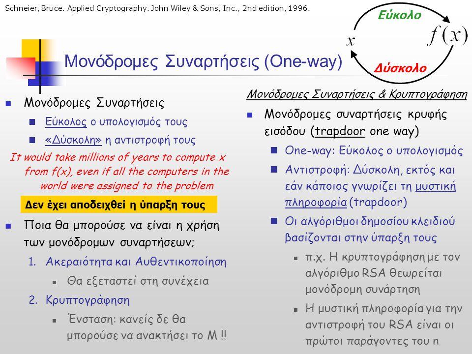 Μονόδρομες Συναρτήσεις (One-way)