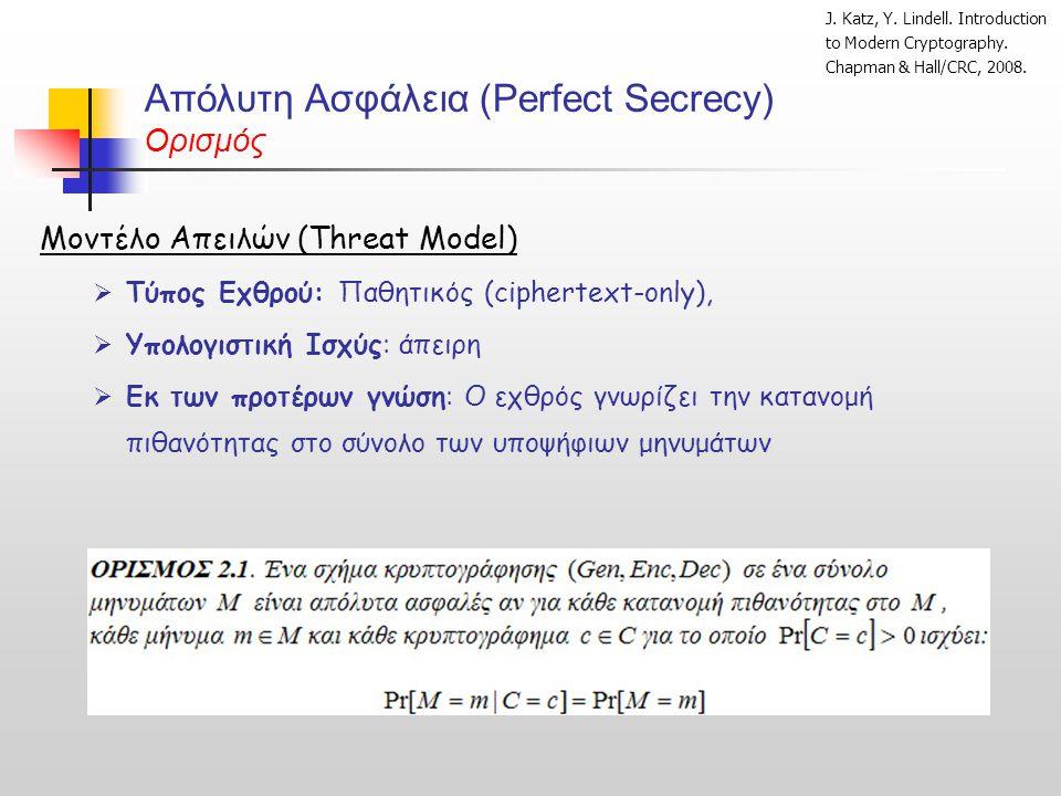 Απόλυτη Ασφάλεια (Perfect Secrecy) Ορισμός