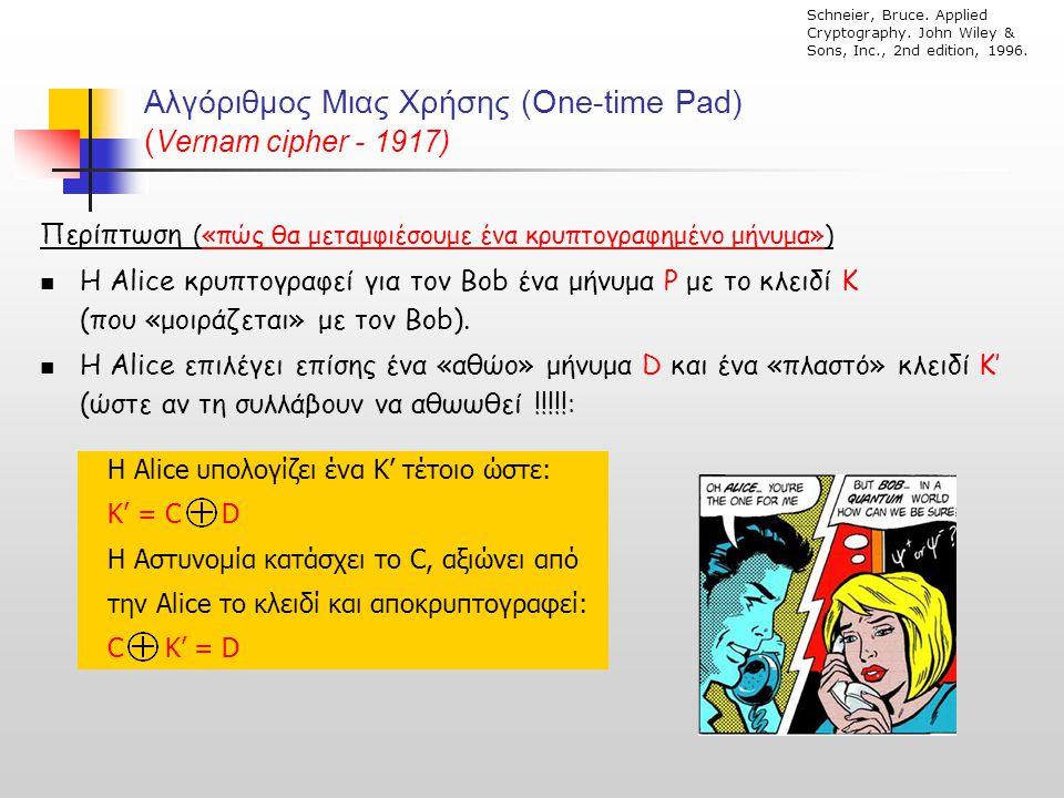 Αλγόριθμος Μιας Χρήσης (One-time Pad) (Vernam cipher - 1917)