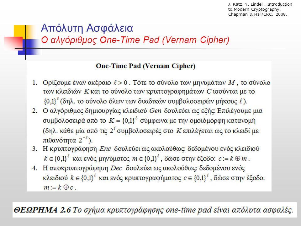 Απόλυτη Ασφάλεια O αλγόριθμος One-Time Pad (Vernam Cipher)