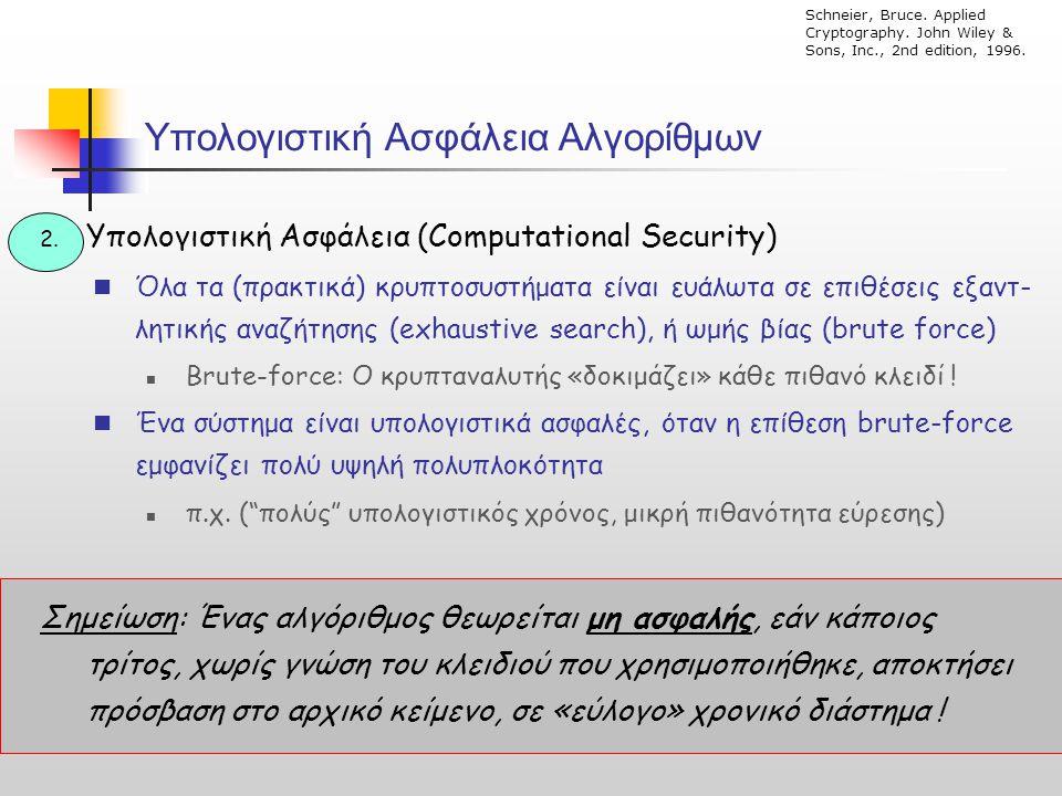 Υπολογιστική Ασφάλεια Αλγορίθμων