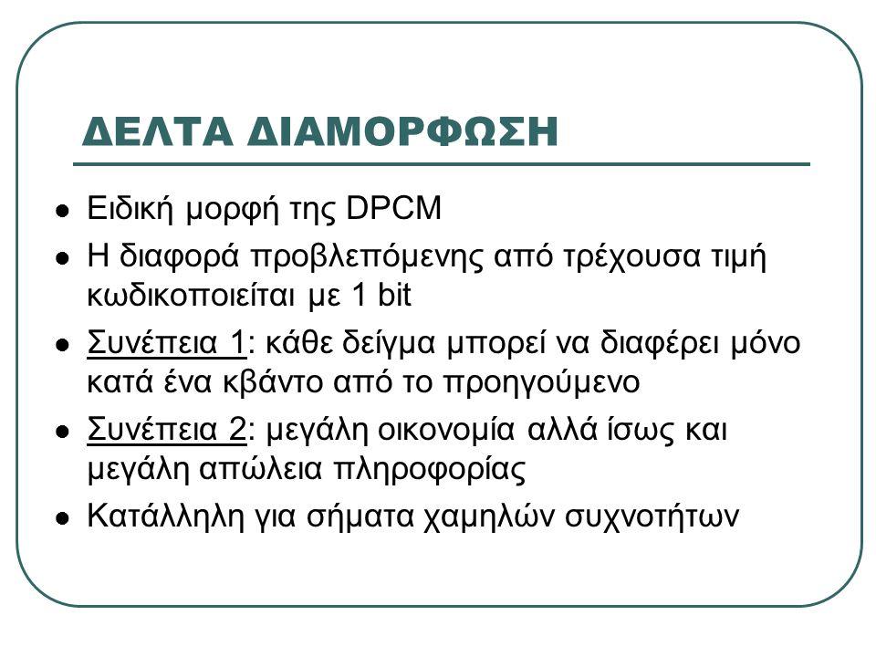 ΔΕΛΤΑ ΔΙΑΜΟΡΦΩΣΗ Ειδική μορφή της DPCM