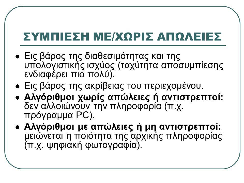 ΣΥΜΠΙΕΣΗ ΜΕ/ΧΩΡΙΣ ΑΠΩΛΕΙΕΣ