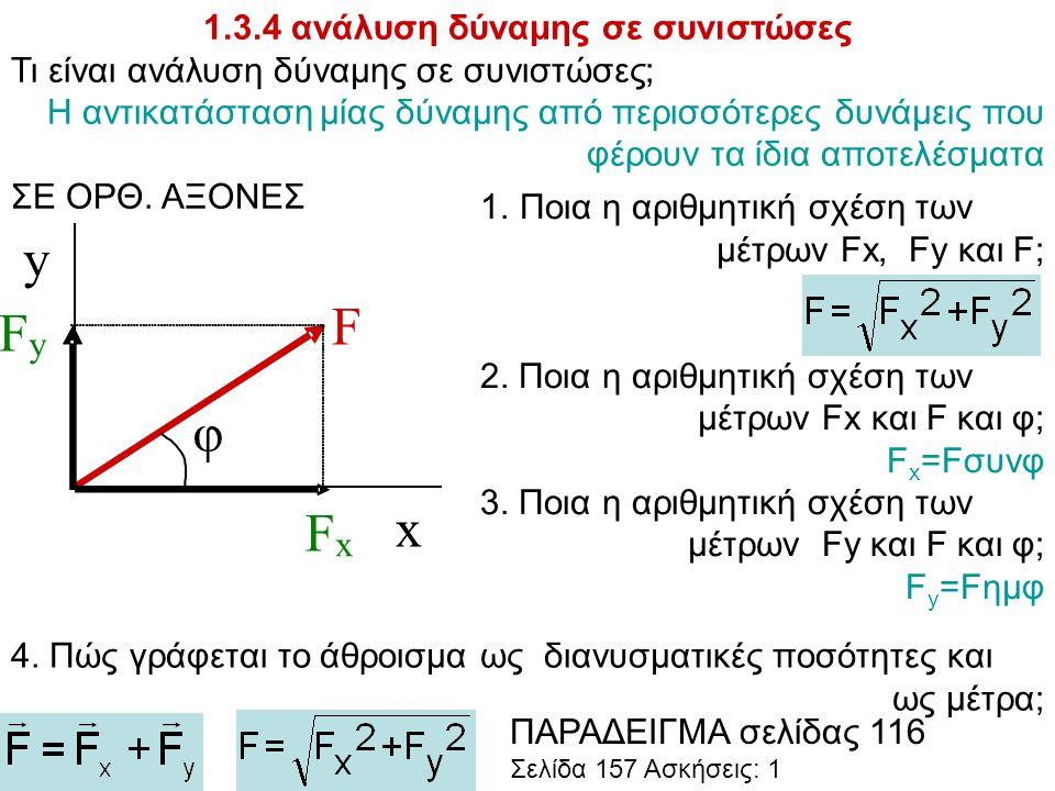 1.3.4 ανάλυση δύναμης σε συνιστώσες