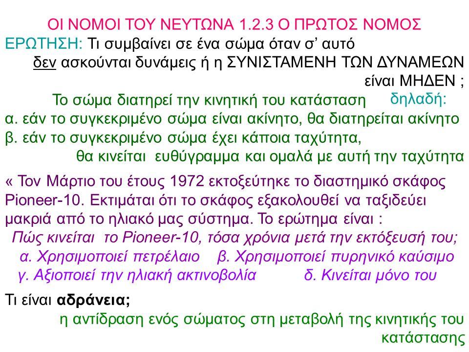 ΟΙ ΝΟΜΟΙ ΤΟΥ ΝΕΥΤΩΝΑ 1.2.3 Ο ΠΡΩΤΟΣ ΝΟΜΟΣ