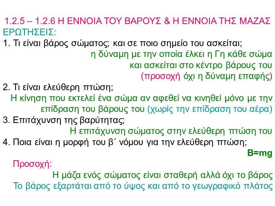 1.2.5 – 1.2.6 Η ΕΝΝΟΙΑ ΤΟΥ ΒΑΡΟΥΣ & Η ΕΝΝΟΙΑ ΤΗΣ ΜΑΖΑΣ