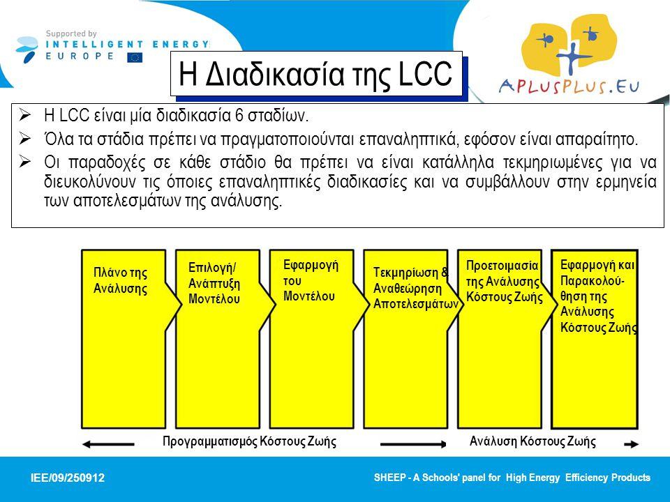 Η Διαδικασία της LCC Η LCC είναι μία διαδικασία 6 σταδίων.