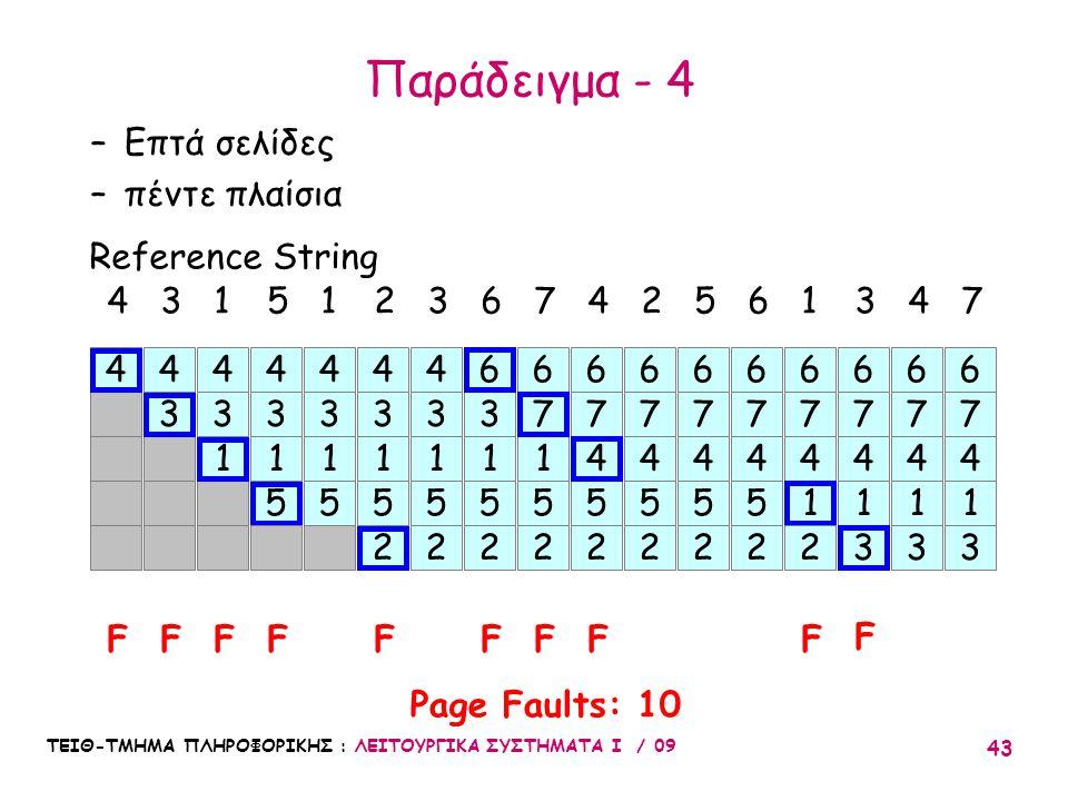 Παράδειγμα - 4 Επτά σελίδες πέντε πλαίσια Reference String 4 3 1 5 1 2