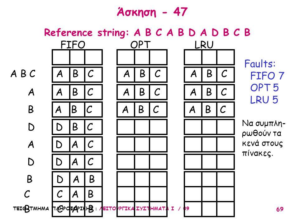 Άσκηση - 47 Reference string: A B C A B D A D B C B FIFO OPT LRU