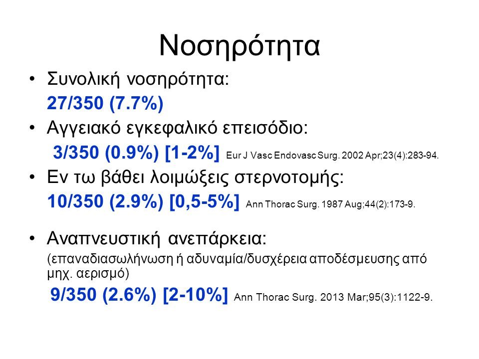 Νοσηρότητα Συνολική νοσηρότητα: 27/350 (7.7%)