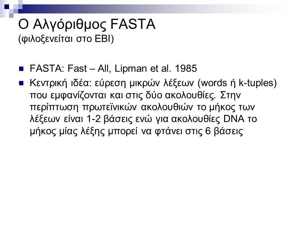 O Αλγόριθμος FASTA (φιλοξενείται στο ΕΒΙ)
