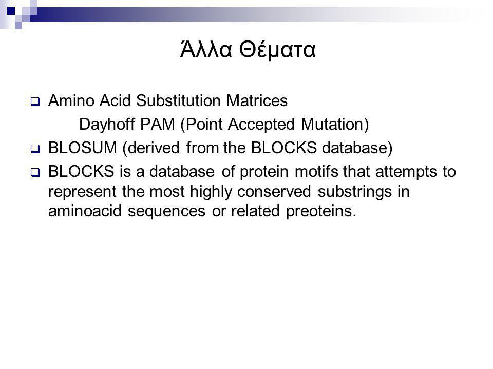 Άλλα Θέματα Amino Acid Substitution Matrices