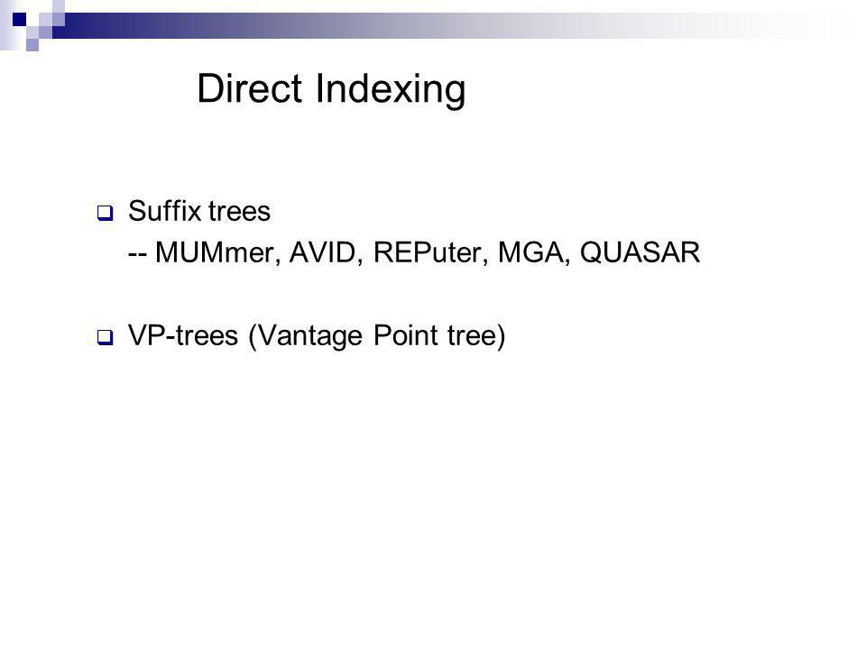Direct Indexing Suffix trees -- MUMmer, AVID, REPuter, MGA, QUASAR