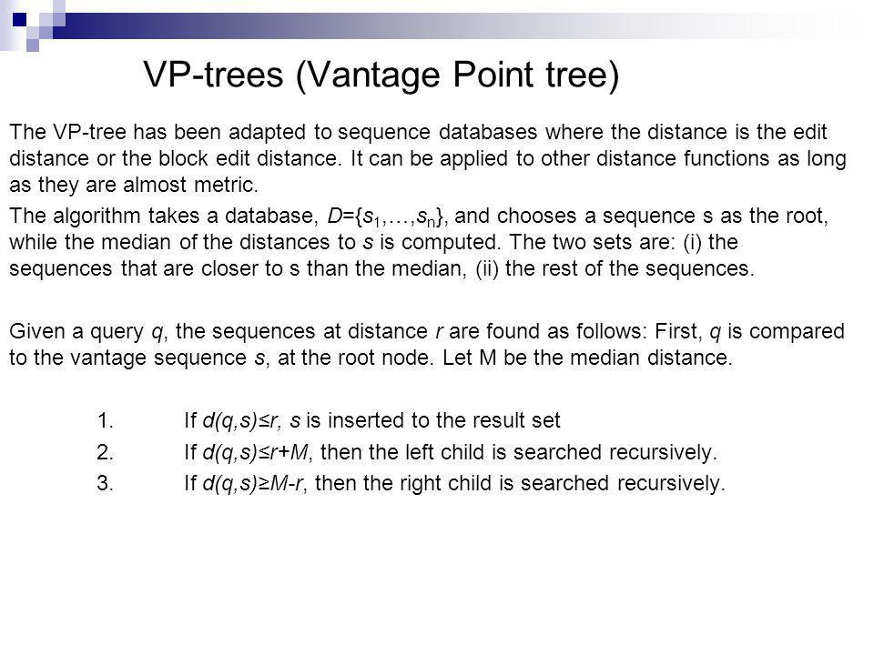 VP-trees (Vantage Point tree)